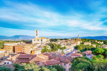 Panorama of Perugia, Italy under a blue and partly cloudy sky