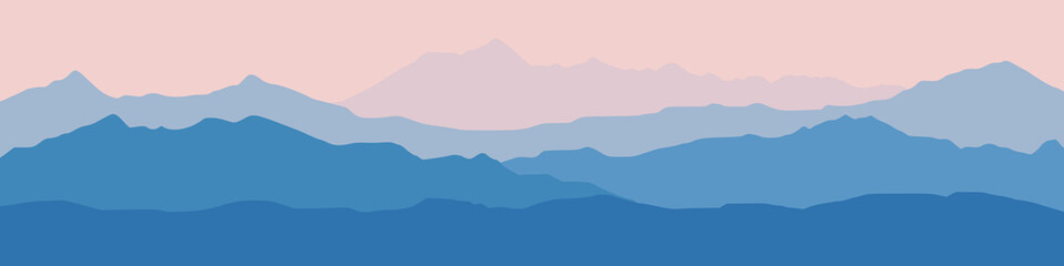 Fantasy on the theme of the morning landscape, sunrise in the mountains, panoramic view, vector illustration
