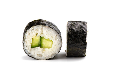 Foto op Aluminium Sushi bar Traditional fresh japanese sushi rolls on a white isolated background.