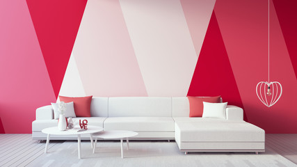 Valentine interior - Pink Red Rose Magenta Blush color Living room / 3D render interior