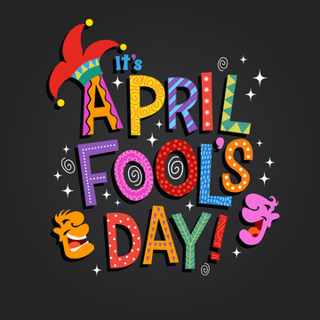 April Fool's Day design with hand drawn decorative lettering, laughing cartoon faces and jester hat. For greeting cards, banners, flyers, etc.