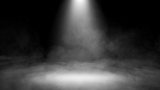 Divine light through a dark fog. The rays beam light on the floor. Spotlight on isolated background. Stock illustration.