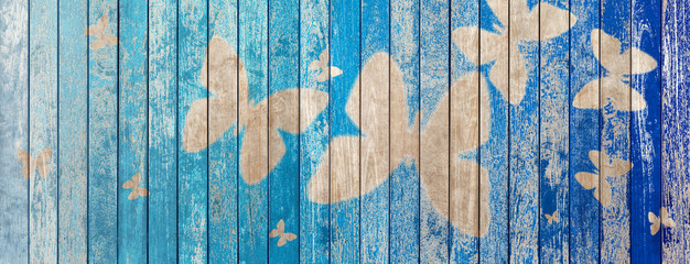 Fotorolgordijn Vlinders in Grunge wood texture background with butterflies