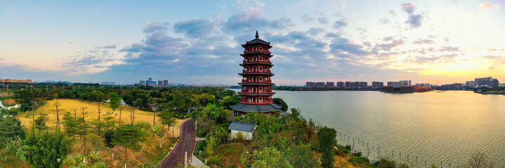 Aerial photo of Huayang Lake Wetland Park, Dongguan, Guangdong Province, China