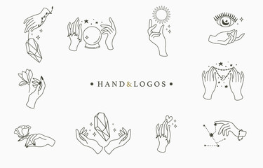 Beauty occult logo collection with hand, rose,crystal,moon,eye,star,heart.Vector illustration for icon,logo,sticker,printable and tattoo