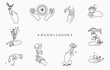 Beauty occult logo collection with hand, rose,crystal,moon,star.Vector illustration for icon,logo,sticker,printable and tattoo