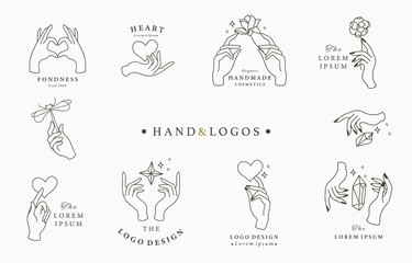 Beauty occult logo collection with hand, rose,crystal,heart,dragonfly,star.Vector illustration for icon,logo,sticker,printable and tattoo