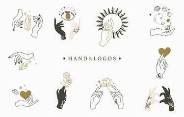 Beauty occult logo collection with hand, rose,crystal,heart,eye,sun.Vector illustration for icon,logo,sticker,printable and tattoo