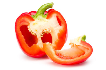 Red bell pepper sliced isolated on white with clipping path.
