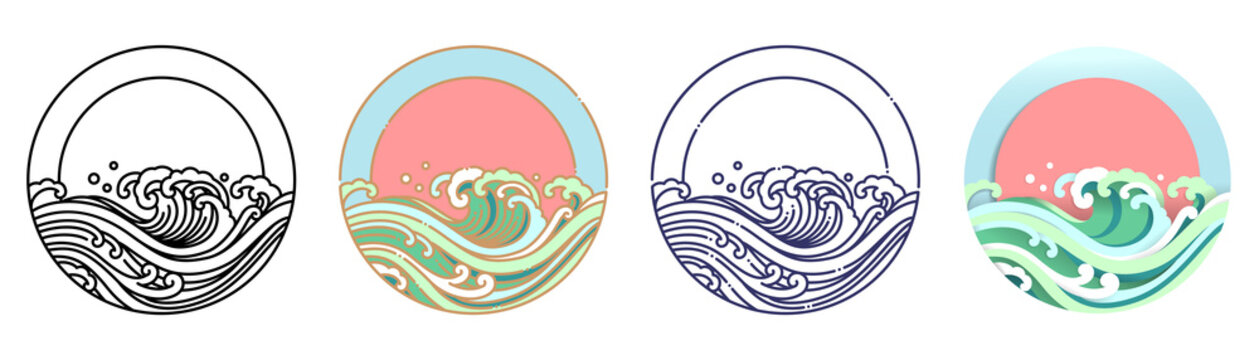 Wave water and sun vector art illustration.