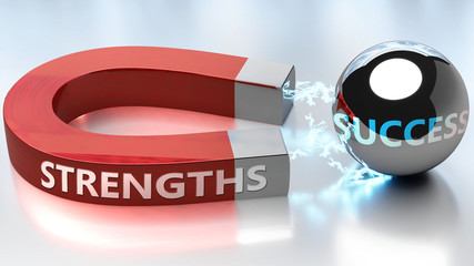 Strengths helps achieving success - pictured as word Strengths and a magnet, to symbolize that Strengths attracts success in life and business, 3d illustration