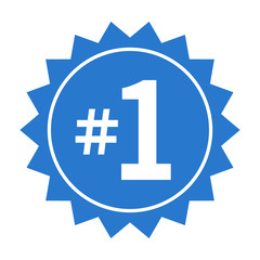 Number 1 or #1 badge label flat blue vector icon for apps and print