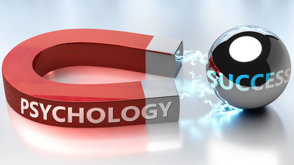 Psychology helps achieving success - pictured as word Psychology and a magnet, to symbolize that Psychology attracts success in life and business, 3d illustration