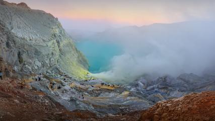Spoed Foto op Canvas Chocoladebruin Mountain Ijen at the morning