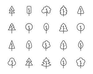 set of tree icons, leaf, natural