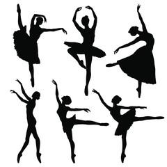 Ballerina silhouette set. Vector illustration on white background