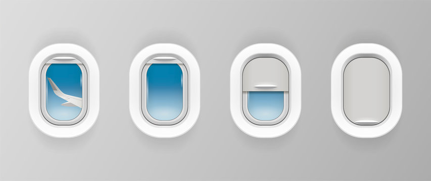 Airplane window set. Plane portholes for banner. Realistic illuminator. View from jet on the wing. Porthole shutter, curtain positions. Travel sign. Vector illustration.