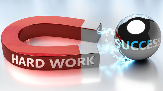 Hard work helps achieving success - pictured as word Hard work and a magnet, to symbolize that Hard work attracts success in life and business, 3d illustration