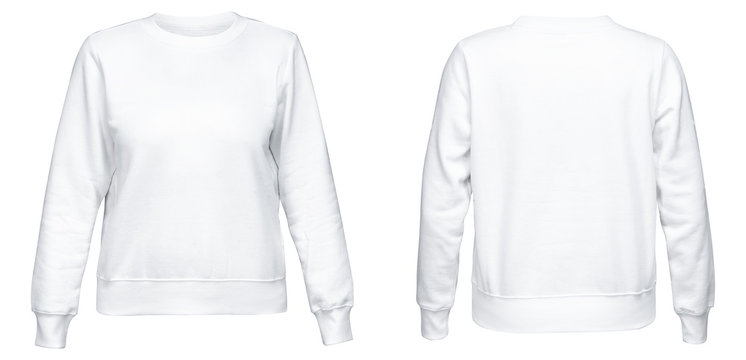 White female sweatshirt with long sleeve mockup for your design isolated on white background. Template pullover front and back side view