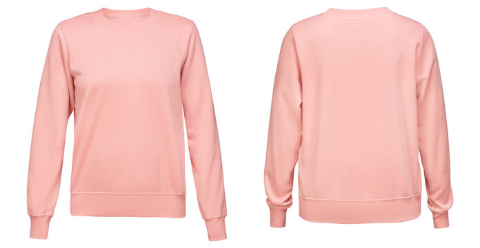 Pink female sweatshirt with long sleeve mockup for your design isolated on white background. Template pullover front and back side view