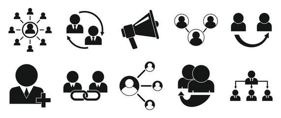Referral program icons set. Simple set of referral program vector icons for web design on white background
