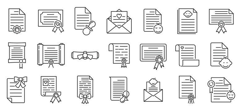 Certificate of birth icons set. Outline set of certificate of birth vector icons for web design isolated on white background
