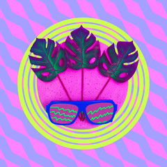 Sunglasses in tropical composition. Minimal fashion flat lay art