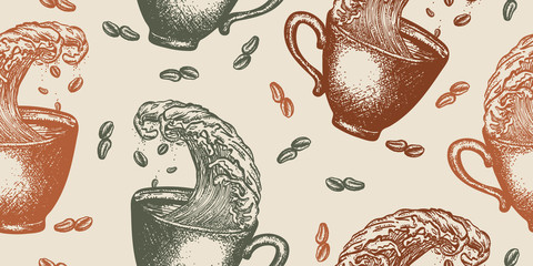 Storm in a cup of coffee. Seamless pattern. Packing old paper, scrapbooking style. Vintage background. Medieval manuscript, engraving art