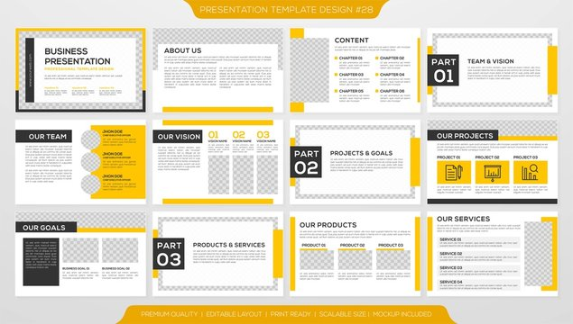set of business presentation template with minimalist layout and modern concept, use for business profile and annual report