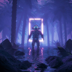Psychedelic jungle astronaut / 3D illustration of science fiction scene showing surreal astronaut in neon lit swampy forest on water planet