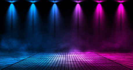 Wall Mural - Dark background of the street, thick fog, spotlight, blue and red neon. Abstract background with neon lights, night view.