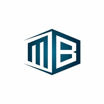 MB monogram logo with hexagon shape and negative space style ribbon design template
