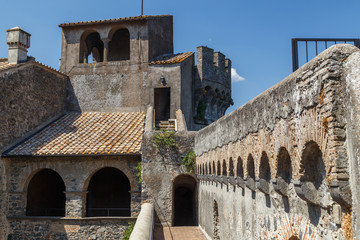 BRACCIANO / ITALY - JULY 2015: Inner yard of medieval castle of Bracciano, Italy