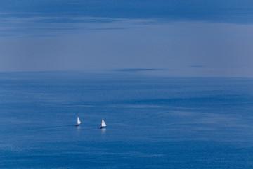 Boats on Bracciano lake in Lazio province, Italy