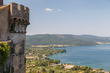 View from medieval castle to Bracciano lake, Italy