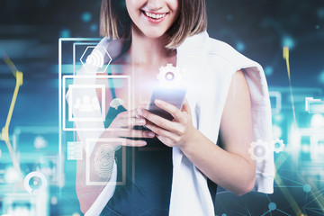 Fotobehang - Smiling woman with smartphone, network interface