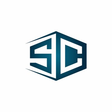 SC monogram logo with hexagon shape and negative space style ribbon design template