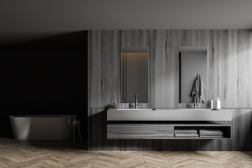 Gray and wooden bathroom, tub and sink