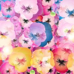 パンジーの花のイラストカラフル一面正方形背景素材