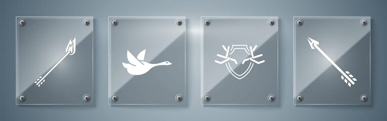 Set Hipster arrow, Deer antlers on shield, Flying duck and Flame arrow. Square glass panels. Vector