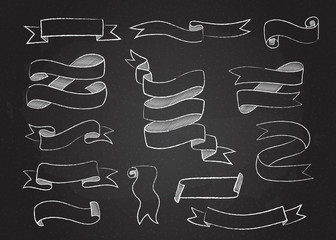 Chalk style sketchy ribbon set vector illustration. Hand drawn elegant banners collection with curved ribbons sketch and curled doodle flags on black chalkboard for vintage cafe board menu design