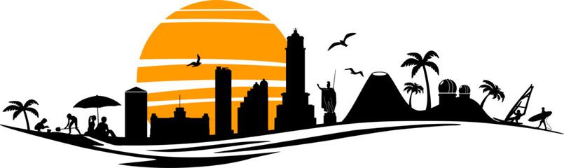 Fototapete - island, sun, beach, palm, outline, apartment, skyscraper, white, view, vector, urban, travel, modern, landscape, landmark, isolated, illustration, house, graphic, downtown, cityscape, city, building,