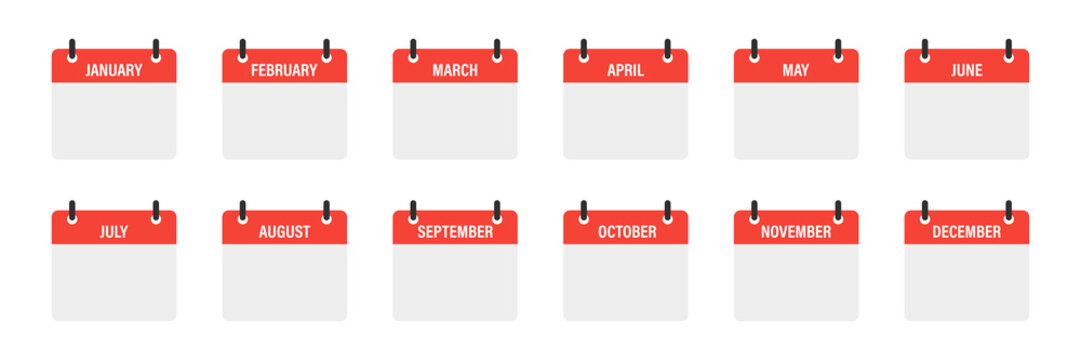 Calendar mounts isolated vector icons on white background. Week calendar schedule. Business plan schedule.