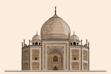 Ancient Indian temple mausoleum of Taj Mahal. Drawing on a beige background.