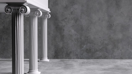 Poster Bedehuis Colonnade with ionic columns. Ancient Greek temple pillars building background. 3d rendering.