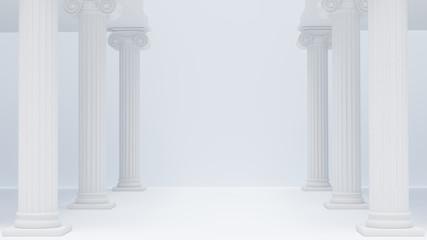 Colonnade ancient Greek columns white antique background. 3d rendering.