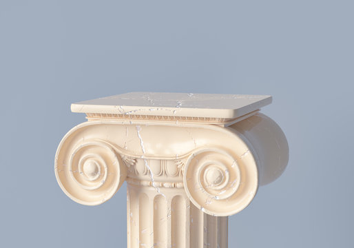 Ancient column pedestal isolated museum piece background, Classical Greek pillar platform, 3d rendering