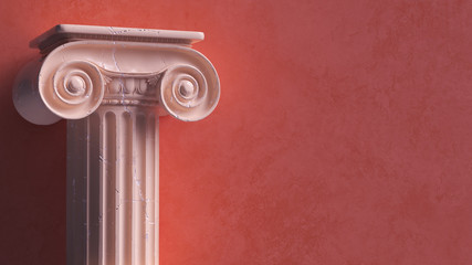 Capital of the ancient Greek Ionic order isolated over white background. Antique column roman pillar architecture, 3d illustration.