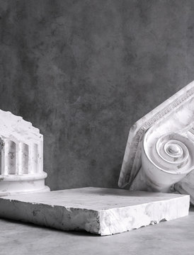Ruined ancient column museum piece background, Classical Greek pillar capital art abstract composition, 3d rendering
