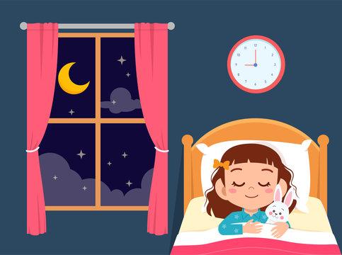 happy cute little girl sleep in bed room